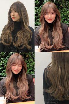 Kpop Hair Color, Korean Hair Color, Medium Permed Hairstyles, Pretty Hairstyles, Korean Hairstyles Women, Cabello Hair, Long Hair With Bangs, Middle Hair, Hair Highlights