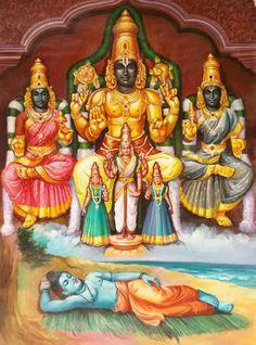 Vishnu, Lakshmi and Bhumi by Artist Sabapathy