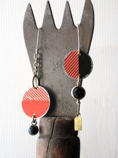 Bold Red Tin Asymmetrical Earrings-Valentine's by eaststreettins