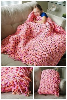 Super-soft, super-easy, super-fast Sofa Blanket Crochet Pattern. This is THE Beginners pattern, free!   (photo credit: Dabblesandbabbles, featured at FineCraftGuild)