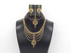 Indian Bollywood Design Traditional Jewelry Necklace Maang Tikka & Earrings Set #VGJewel