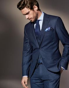 Dapper navy three piece suit with white shirt navy tie blue patterned silk pocket square Suits Ties and Bowties Mens Fashion Suits, Mens Suits, Fashion Outfits, Fashion Menswear, Male Fashion, Fashion Styles, Fashion Brands, Fashion Ideas, Luxury Fashion