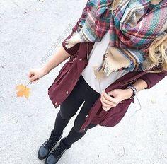 plaid scarf + maroon jacket