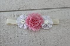 Pink Shabby Rose and White Eyelet Lace Flower by TCSimplyChic, $9.00