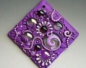 Lavender and Lilac Mosaic Art Tile Polymer Clay and Glass