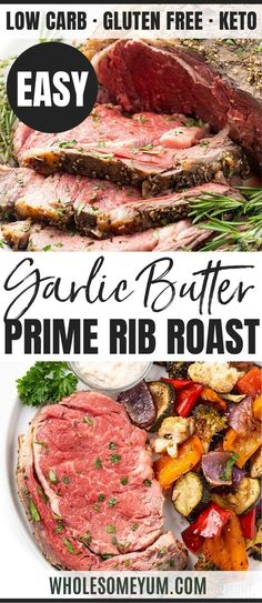 Perfect Garlic Butter Prime Rib Recipe - The ultimate guide to perfect prime rib roast! Includes how to cook prime rib (with cooking time per pound chart), my delicious garlic butter prime rib recipe, how much to serve, and more. Low Carb Dinner Recipes, Rib Recipes, Roast Recipes, Paleo Recipes, Cooking Recipes, Cooking Time, Cooking Gadgets, Skillet Recipes, Cooking Videos