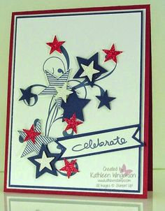 4th of July card made with Everything Eleanor and Endless Birthday Wishes stamp sets from Stampin Up by Kathleen Wingerson    www.kathleenstamps.com