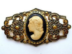 Vintage Celluloid Cameo Brooch Black Enamel Taille de'Epergne Gold Plated Pin