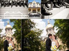 Copyright © Jennifer Mayo Studios, www.jmstudios.com | University of Notre Dame wedding photos, Golden Dome, Main Building, bride and groom, groomsmen