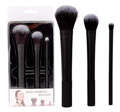 3 Piece Black Colored Cosmetic Brush Set ** You can find out more details at the link of the image. (This is an affiliate link) Cosmetic Brush Set, Contour Makeup, 3 Piece, Sculpting, Cosmetics, Beauty, Color, Black, Image