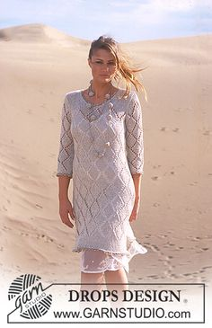 DROPS Tunic with lace pattern knitted in Bomull-lin and Cotton Viscose. Crochet necklace in Cotton Viscose. ~ DROPS Design