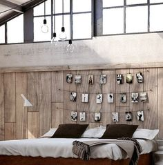 i think this is the best of the 62 DIY Cool Headboard Ideas - no pattern just the photo but i can see this done with pallet boards, old pegs and fav fotos