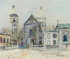 Maurice Utrillo 1883 - 1955 ÉGLISE SAINT PIERRE ET SACRÉ-COEUR DE MONTMARTRE Signed Maurice, Utrillo, V, (lower right); titled (lower left) Oil on canvas 18 1/4 by 21 3/4 in. 46.4 by 55.2 cm Painted circa 1936.