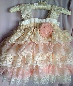 Vintage Lace Flower Girl Dress Wedding Birthday by Babybonbons
