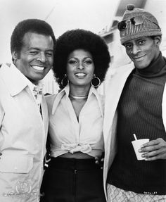 """trash-fuckyou:"""" Pam Grier, Terry Carter and Antonio Fargas on the set of Foxy Brown Foxy Brown Pam Grier, Jackie Brown, Vintage Black Glamour, Black Actors, Black Goddess, Black Pride, Best Actress, Black Is Beautiful, Beautiful Ladies"""