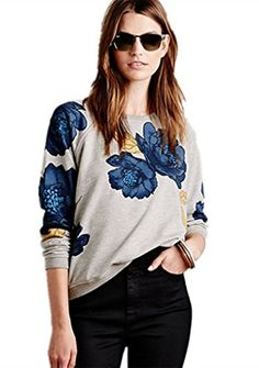 HEYFAIR Womens Flower Print Crewneck Fleece Pullover Sweatshirt S >>> Click on the image for additional details.  This link participates in Amazon Service LLC Associates Program, a program designed to let participant earn advertising fees by advertising and linking to Amazon.com.