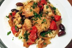Braised Chicken Thighs and Cauliflower with Olives and Capers