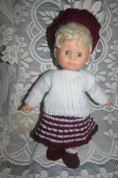 Items similar to Knitted dolls clothes on Etsy Dark Red, Red And White, Red Berets, White Jumper, Acrylic Wool, Knitted Dolls, Double Knitting, Doll Clothes, Crochet Hats