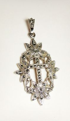 Sterling Silver Theda Marcasite Cross Pendant by HeirloomSilver, $39.00