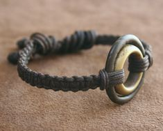 Macrame Bracelet and Ancient African Bronze & Brass Rings Adjustable Woven Linen