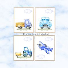 Transportation wall art, Car Nursery art, Nursery poster print, Baby Boy Nursery Decor, Children Art Print Set of 4 Plane Tractor by irinnadesign on Etsy