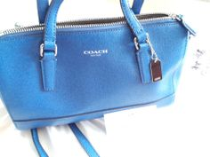 NWOT COACH SAFFIANO COLBALT BLUE LEATHER MINI SATCHEL BAG 49392 MSRP $228 #Coach #ShoulderBag