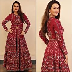 Preeti zinta in Anita dongre Stylish Dress Designs, Stylish Dresses, Fashion Dresses, Ethnic Dress, Indian Ethnic Wear, Indian Designer Outfits, Designer Gowns, Indian Wedding Outfits, Indian Outfits
