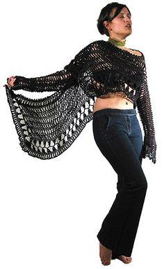 Hairpin lace shawl. Leads to a stitch learning site for crochet/knitting/hairpin lace