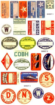 White Star Line Luggage Labels and Stickers - Titanic party. Would be fun for Halloween.