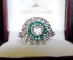 This belongs on my hand!!! LOVE THIS!  Vintage Art Deco Platinum Rose Cut Diamond by ArtifactJewels