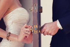 Cute pre wedding photo without breaking tradition. might also be cute if the bride and groom are exchanging words through the door before wedding without seeing each other :) Perfect Wedding, Our Wedding, Dream Wedding, Wedding Shot, Trendy Wedding, Wedding Themes, Quirky Wedding, Wedding Stuff, Wedding Album