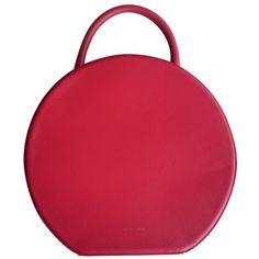 Red Leather Handbag MANSUR GAVRIEL ($896) ❤ liked on Polyvore featuring bags, handbags, leather handbags, leather bags, man bag, real leather handbags and leather man bags