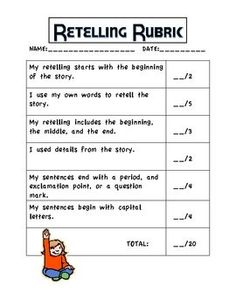 retelling strategies | Retelling Rubric: