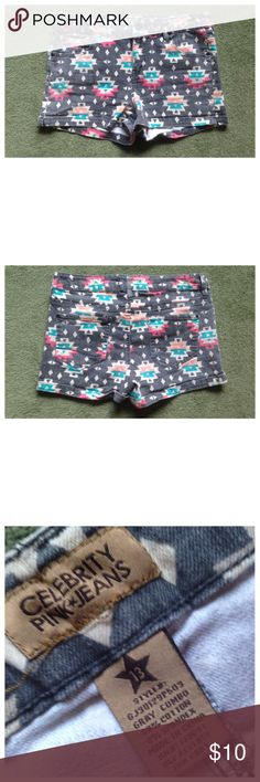 """Celebrity Pink Size 13 Tribal Shorts Excellent condition; Across waist - 16.5"""", Front rise - 10"""", Inseam - 2.5""""; Cotton, Spandex Celebrity Pink Shorts"""