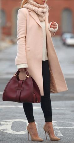 Fashion For Women: Winter Blush Coat Burgundy Bag High Heels Beige So...