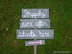 Happily Ever After Starts Here Wedding Sign. Rustic Wedding. Wedding Reception Signs. Reception Decorations. Country Wedding. $89.00, via Etsy.