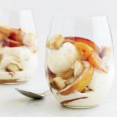 Bourbon-Nectarine Ice Cream Sundaes with Pound-Cake Croutons