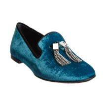 Giuseppe Zanotti Jeweled Tassel Loafer-shades of Elvis Blue Slippers, Thing 1, Giuseppe Zanotti Shoes, Smoking Slippers, Blue Suede Shoes, School Shoes, Tassel Loafers, Loafer Shoes, Flats