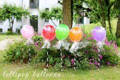 DIY lollipop Balloons for Kids birthday party fun! Diy Ballon, Rainbow Birthday Party, Dinosaur Birthday, 5th Birthday, Birthday Ideas, Birthday Parties, Diy Décoration, Candy Party, Childrens Party