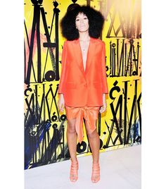 @Who What Wear - Solange Knowles                 Kudos to Knowles for working a knotted skirt into a bright monochrome ensemble — two cool-girl trends in one!  On Knowles: Acne Studio Ines Skirt ($421); Jimmy Choo Damsen Neon Matte-Leather Sandals ($995)
