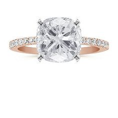 Pavé Diamond Engagement Ring in Rose Gold with Cushion Cut Diamond