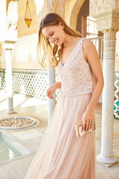 Make your outfit a conservation-starter with a beautiful beaded maxi Bridesmaid Dresses, Prom Dresses, Formal Dresses, Race Day Fashion, Beaded Top, Occasion Dresses, Conservation, Frocks, Bridal Gowns