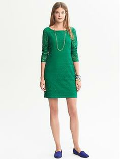 Banana Republic Spring Lace Sheath Dress Bracelet Sleeve Length In Whispering Pine Green Never Worn