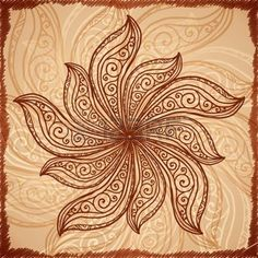 indian mandala: Vintage beige abstract background with doodle circle Stock Photo