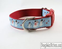 "Christmas Dog Collar - Snowman Family - 1"" Wide Quick Release or Martingale Dog Collar"