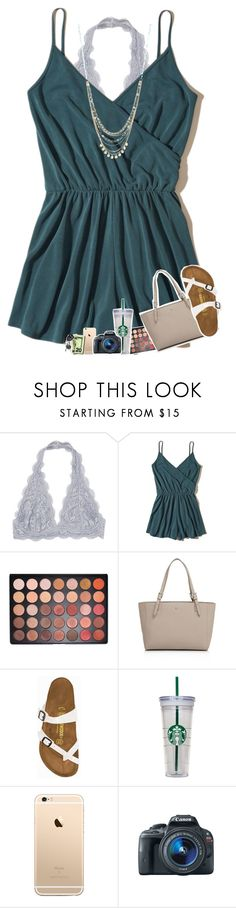 """""""soo warm today :)"""" by sanddollars ❤ liked on Polyvore featuring Hollister Co., Morphe, Tory Burch, Birkenstock, WALL, Eos and Lane Bryant"""