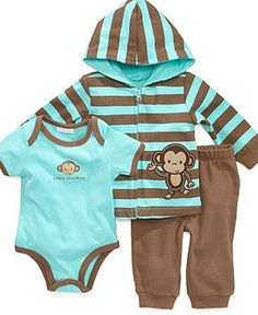 First Impressions Baby Set, Baby Boys Monkey Bodysuit, Hoodie and Pants - Kids Newborn Shop - Macy's