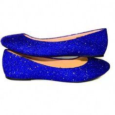 Sparkly Royal Blue Glitter Ballet Flats shoes wedding bride Prom Graduation  Sweet 16 Bridal - Glitter Shoe Co d5235d23e462