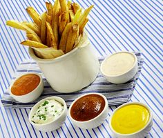 Dips and toppings for French fries and burgers....
