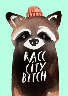 Racc City Bitch|Funny General Card Racc City Bitch. The hipster raccoon may have created his own version of the rap. A funny pop culture card for a friend or family member.